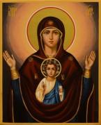 Рукописная икона Знамение 3 (Размер 13*16 см)
