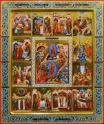 Рукописная икона 12 Великих Праздников