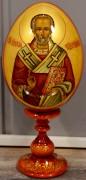 Пасхальное яйцо рукописное Николай Чудотворец с узором