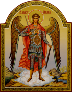 Рукописная икона Архангел Михаил 19 (Размер 22*28 см)