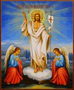Рукописная икона Воскресение Христово 9 (Размер 17*21 см)