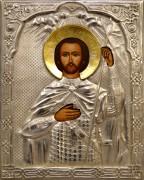 Рукописная икона Александр Невский с окладом (Размер 18*21 см)