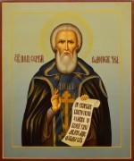 Рукописная икона Сергий Радонежский под старину 21 (Размер 21*25 см)
