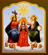 Рукописная икона Коронование Пресвятой Богородицы