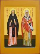 Рукописная икона Сергий Радонежский и Феодор Ростовский