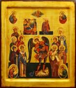 Рукописная икона Архангел Михаил с избранными святыми с кракелюром
