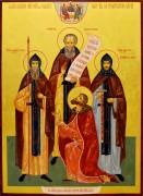 Рукописная икона Благословение Сергия Радонежского на Куликовскую битву