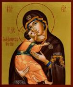 Рукописная икона Владимирская 19 (Размер 9*10.5 см)