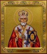 Рукописная икона Николай Чудотворец с резьбой 58