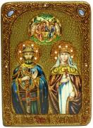 Икона ручной работы Петр и Феврония с камнями 3