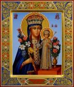 Рукописная икона Неувядаемый Цвет с резьбой 41 (Размер 21*25 см)