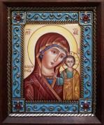 Икона из финифти Казанская 42 (Размер 10*12 см)