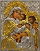Рукописная икона Святое Семейство с серебряным и золоченым окладом 2