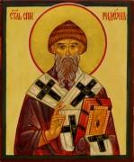 Рукописная икона Спиридон Тримифунтский под старину 19 (Размер 10*12 см)