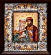 Икона из финифти Петр и Феврония 3 (Размер 14*16 см)