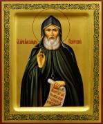 Рукописная икона Александр Свирский 4 (Размер 17*21 см)