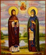 Рукописная икона Петр и Феврония живопись 91 (Размер 21*25 см)