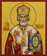 Рукописная икона Николай Чудотворец 69 (Размер 9*10 см)