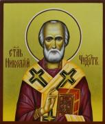 Рукописная икона Николай Чудотворец 70 (Размер 9*10.5 см)