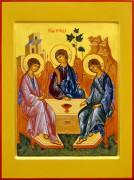 Рукописная икона Святая Троица под старину 25 (Размер 30*40 см)