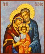Рукописная икона Святое Семейство с жемчугом (Размер 17*21 см)
