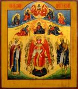 Рукописная икона София Премудрость Божия с кракелюром (Размер 27.5*32 см)