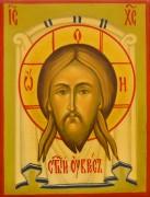 Рукописная икона Спас Нерукотворный под старину 42 (Размер 7*9 см)