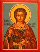 Рукописная икона Пантелеймон Целитель под старину 14 (Размер 7*9 см)