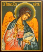 Рукописная икона Ангел с Душой под старину 80 (Размер 10*12 см)