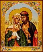 Рукописная икона Петр и Феврония с узорами 92 (Размер 21*25 см)