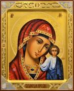 Рукописная Казанская икона с резьбой и камнями 48 (Размер 21*25 см)