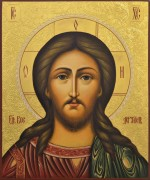 Рукописная икона Спас Вседержитель с резьбой 47 (Размер 21*25 см)