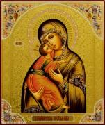 Рукописная икона Владимирская с резьбой 21 (Размер 21*25 см)