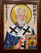 Икона из мозаики Святитель Николай Чудотворец в багете