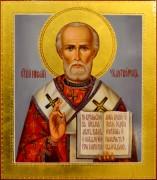 Рукописная икона Николай Чудотворец масло 71 (Размер 27*31 см)