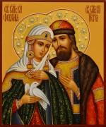 Рукописная икона Петр и Феврония с жемчугом 94 (Размер 17*21 см)