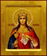 Рукописная икона Варвара с жемчугом 8