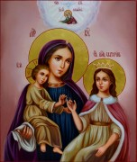 Рукописная икона Екатерина и Пресвятая Богородица