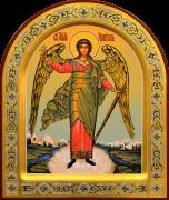 Рукописная икона Ангел Хранитель арочный 82 (Размер 21*25 см)