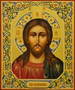 Рукописная икона Спас Вседержитель с резьбой 53 (Размер 17.5*21 см)