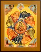 Рукописная икона Неопалимая Купина под старину 15 (Размер 21*25 см)