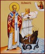 Рукописная икона Николай Чудотворец 79 (Размер 17*21 см)