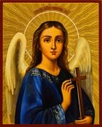 Рукописная икона Ангел Хранитель с резьбой 104 (Размер 13*16 см)