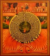 Рукописная икона Духовный Лабиринт 4 (Размер 27*31 см)
