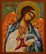 Рукописная икона Ангел Хранитель с Душой 106 (Размер 9*10.5 см)