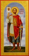 Рукописная икона Александр Невский с резьбой 36 (Размер 13*25 см)