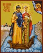 Рукописная икона Петр и Феврония в лодочке 99