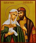 Рукописная икона Петр и Феврония 78 (Размер 17*21 см)