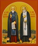 Рукописная икона Сергий Радонежский и Серафим Саровский