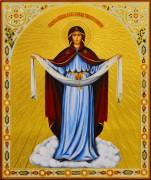 Рукописная икона Покров с резьбой 19 (Размер 21*25 см)